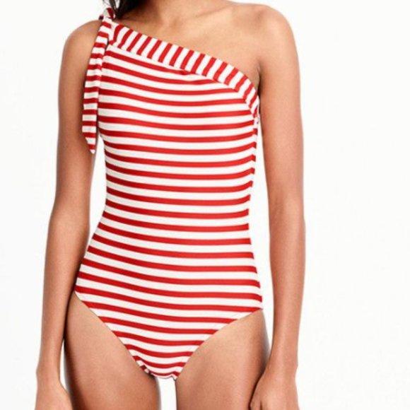 J. Crew Swimsuit One Shoulder Retro Stripe NWT